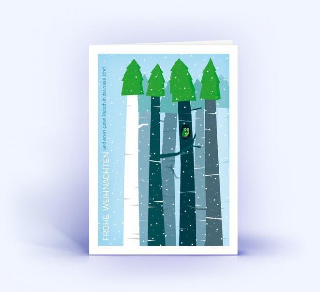 Weihnachtskarten Set Weihnachtswald mit Eule Blau