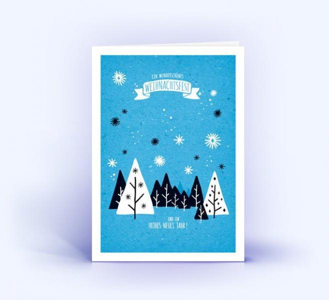 Weihnachtskarte DINA6 Winterlandschaft blau 5er Set
