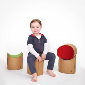 der kinderhocker lollo aus pappe von hophopik. Black Bedroom Furniture Sets. Home Design Ideas