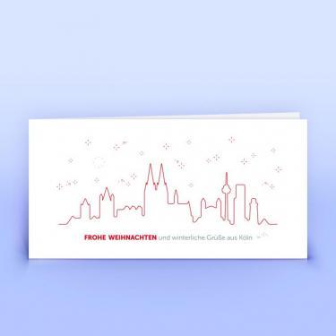 Köln Weihnachtskarte in rot - Eco-Cards