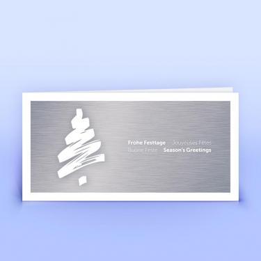 Weihnachtskarte schwungvoller Baum auf Metallhintergrund - Eco-Cards