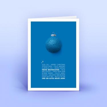 Weihnachtskarte mit blauer Weihnachtskugel - Eco-Cards