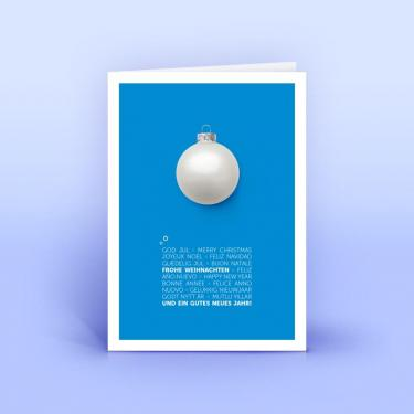 Weihnachtskarte blau mit mehrsprachigem Weihnachtsgruß - Eco-Cards