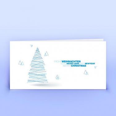 Weihnachtskarte blauer Linienbaum - Eco-Cards