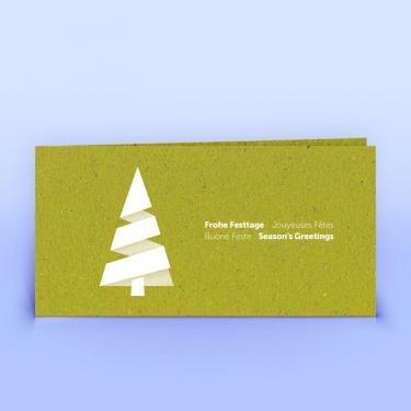 Weihnachtskarte moderner Weihnachtsbaum auf Graspapier DIN Lang - Eco-Cards