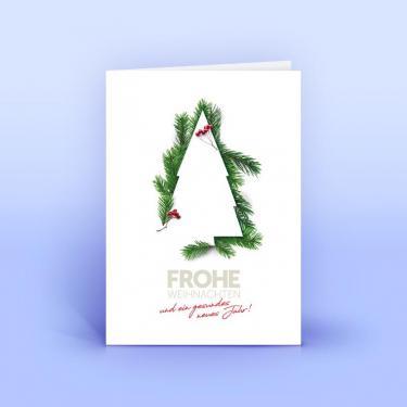 Weihnachtskarte mit Tannengrün im Design - Eco-Cards