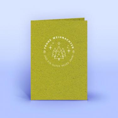 Weihnachtskarte kleiner Winterwald auf Graspapier A6 - Eco-Cards