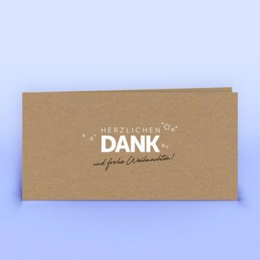 Dankeskarte auf Naturpapier mit Sonderfarbe Weiß - Eco-Cards