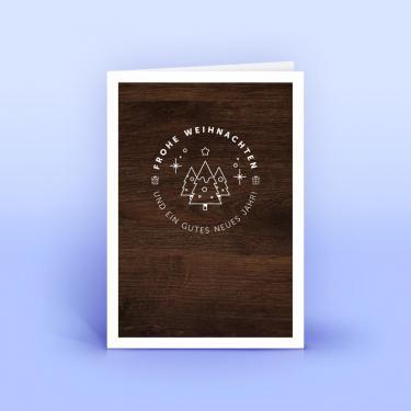 Weihnachtskarte mit Holzdekor - Eco-Cards