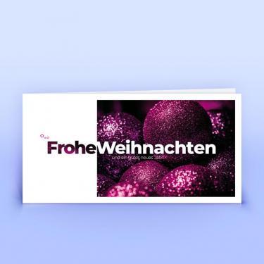 Weihnachtskarte pinke Glitzerkugeln - Eco-Cards