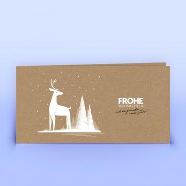Weihnachtskarte mit Hirsch auf Naturpapier - Eco-Cards