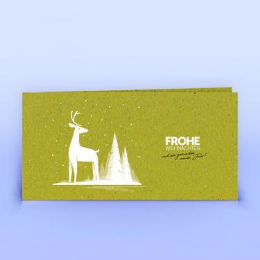 Weihnachtskarte Hirsch auf Graspapier DIN Lang - Eco-Cards