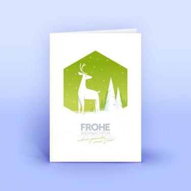 Weihnachtskarte mit Hirsch - Eco-Cards
