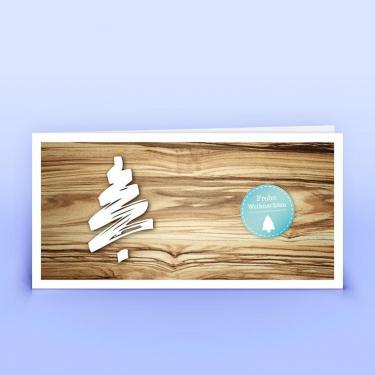 Weihnachtskarte mit aufgedruckter Holzstruktur - Eco-Cards