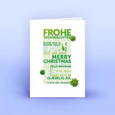 Weihnachtskarte grüne Weihnachtsgrüße international A6 - Eco-Cards