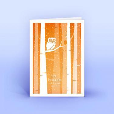 Weihnachtskarte Eule im Walde - Eco-Cards