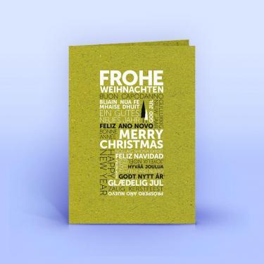 Weihnachtskarte internationale Weihnachtsgrüße auf Graspapier A6 - Eco-Cards