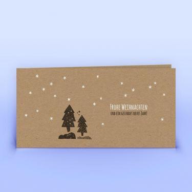 Weihnachtskarte Wald und Sternchen Naturpapier - Eco-Cards