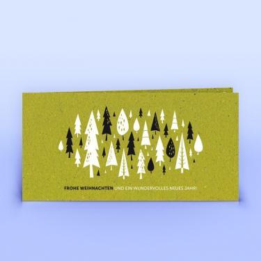 Weihnachtskarte Wald und Weihnachtsgruß auf Graspapier DIN Lang - Eco-Cards