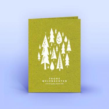 Weihnachtskarte weiße Bäumchen auf Graspapier A6 - Eco-Cards