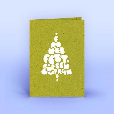 Weihnachtskarte Weihnachtsgrüße auf Graspapier A6 - Eco-Cards