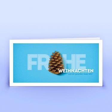 Weihnachtskarte blaue Weihnachtsgrüße mit Tannenzapfen - Eco-Cards