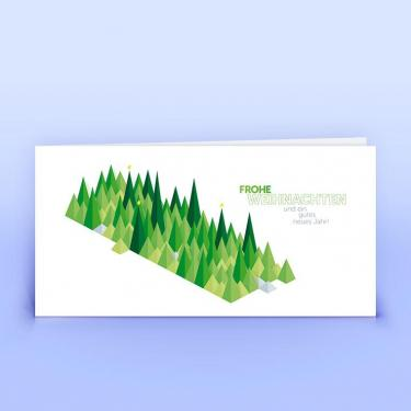 Weihnachtskarte grüne grafische Bäumchen - Eco-Cards