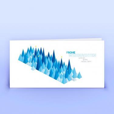 Weihnachtskarte blaue grafische Bäumchen - Eco-Cards