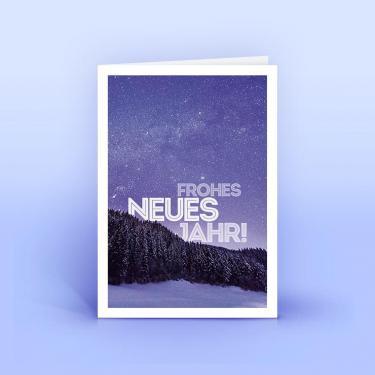 Neujahrskarte lilafarbene Landschaft - Eco-Cards