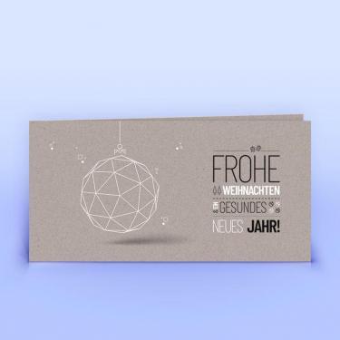 Weihnachtskarte moderne Christbaumkugel graues Recyclingpapier - Eco-Cards