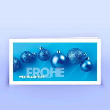 Weihnachtskarte blaue Weihnachtskugeln - Eco-Cards