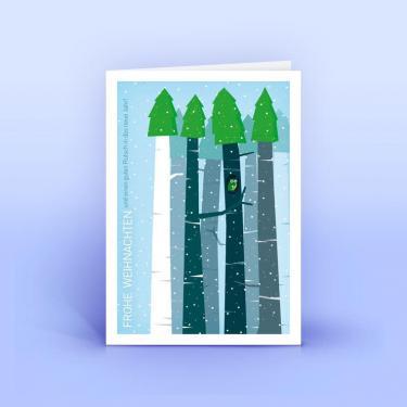 Weihnachtskarte Eule im Wald - Eco-Cards