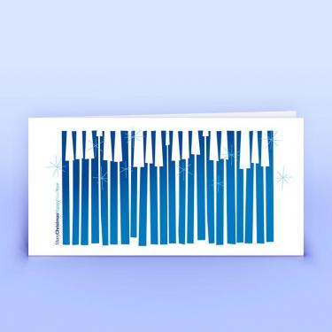 Weihnachtskarte abstrakt mit englischen Grüßen blau - Eco-Cards
