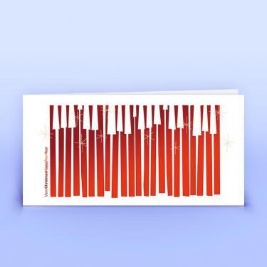 Weihnachtskarte abstrakt mit englischen Grüßen rot - Eco-Cards