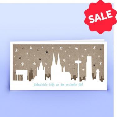 Weihnachtskarte Kölner Skyline - Eco-Cards