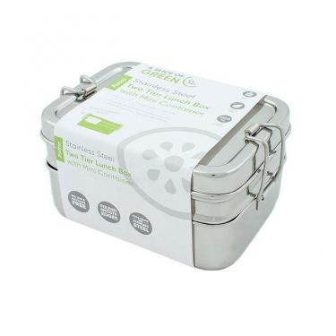 Edelstahl Brotbox Doppel mit Snackbox