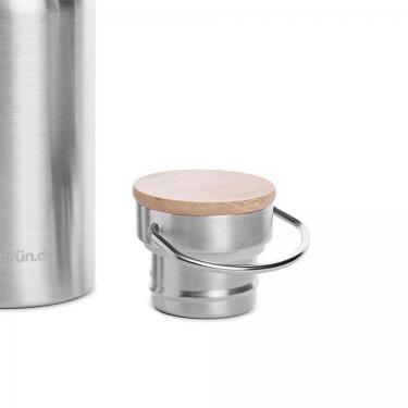 Ersatzdeckel mit Bambus für Edelstahl Trinkflasche 500+1000ml