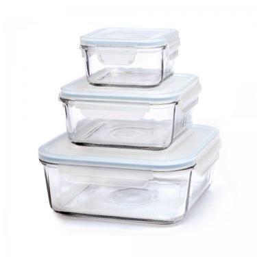 Glas Frischhaltedosen - quadratisch - 3er Set - von GlassLock