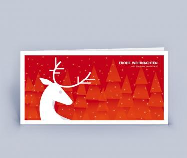 Weihnachtskarte DIN Lang Hirsch 5er Set