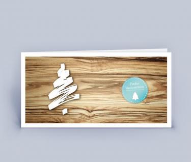 Weihnachtskarte DIN Lang Holzoptik 5er Set