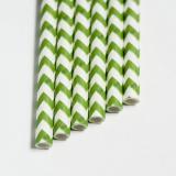 Papier Trinkhalme 6mm gerade 20cm - 20Stück ZickZack Grün