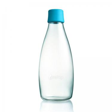 Glas Trinkflasche von Retap 0,8L hellblau