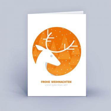 Moderne Weihnachtskarten DIN A6 im 5er Set Hirsch rund orange