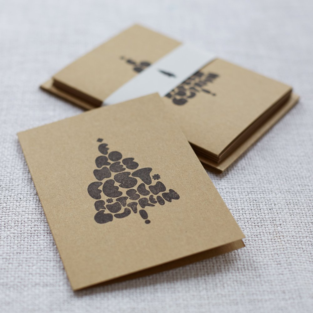 Weihnachtskarten Spende.Handbedruckte Weihnachtskarten 5er Set Christbaum