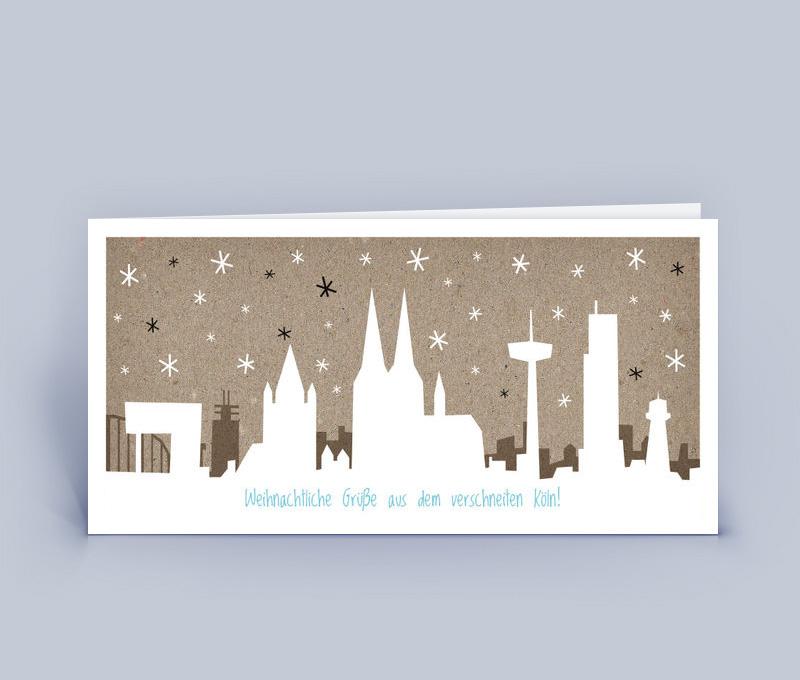 Weihnachtskarte mit der Kölner Stadtsilhouette im Schnee. Eine ganz ...