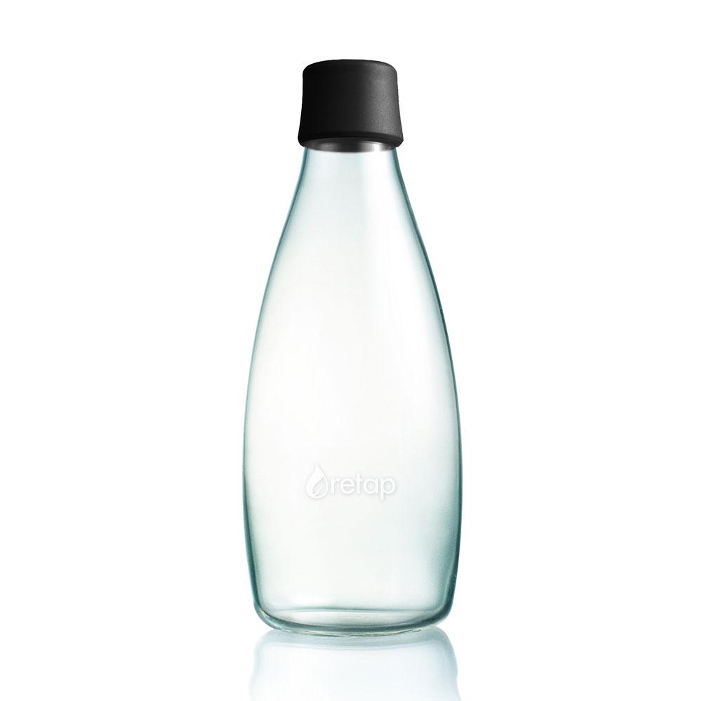 glas trinkflasche von retap 0 8l schwarz in trinkflaschen im online shop von mehr gr. Black Bedroom Furniture Sets. Home Design Ideas