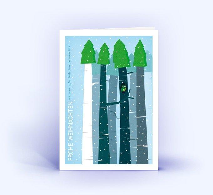 winterliche weihnachtskarte im din a6 format mit eule. Black Bedroom Furniture Sets. Home Design Ideas
